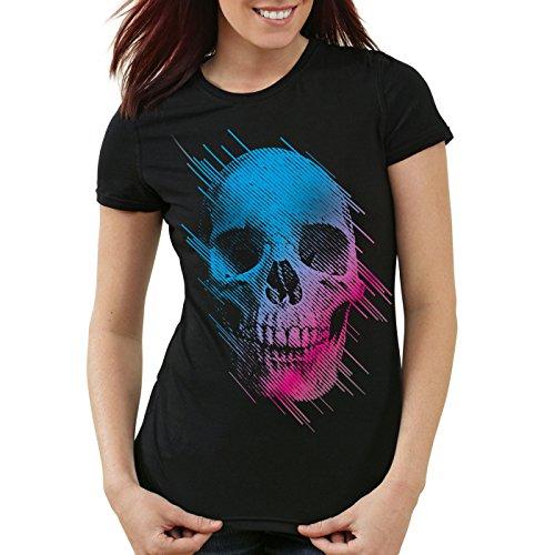 style3 Neon Skull T-shirt da donna testa di morto disco neon festival, Colore:Nero;Dimensione:2XL