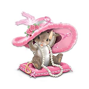 Charming Tails Collectible Hats Off To A Cure Breast Cancer Awareness Figurine by The Hamilton Collection