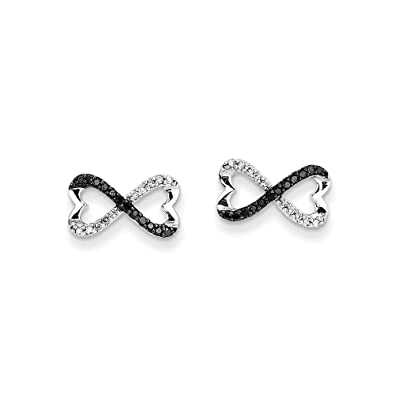 PriceRock 0.2 Carat 14K White Gold W/ Black And White Diamond Infinity Heart Post Earrings