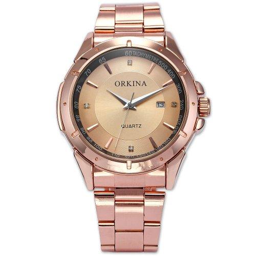 Orkina Mens Luxury Rose Gold Stainless Steel Date Sport Quartz Wrist Watch Gift ORK102