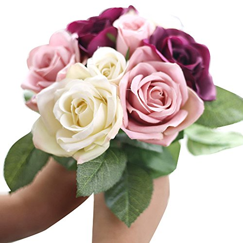 Kinghard 9 Heads Artificial Silk Fake Flowers Leaf Rose Wedding Floral Decor Bouquet (Beige)