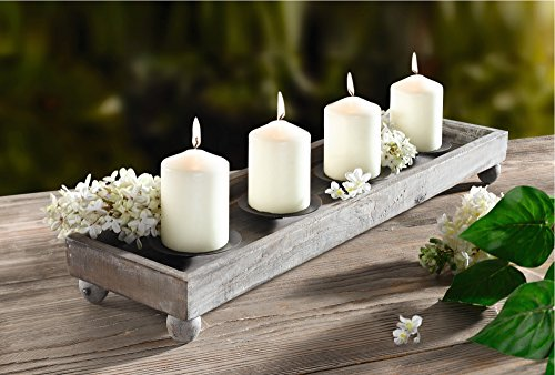 Wood Candle Tray – 21″ Antique Finish Tray with Four Metal Candle Holders Product SKU: CL221913