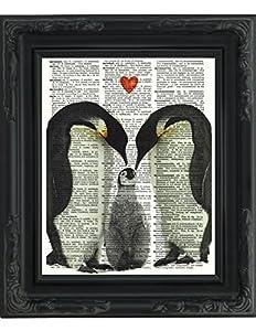 Amazon Com Dictionary Art Print Romantic Penguin Couple