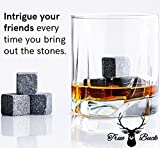 True Buck Premium Granite Whiskey Stones - Gift Set Includes 8 Smoothed Natural Rocks & Roasted Pine Engraved Wooden Box - Keep Your Drinks Undiluted and Colder for Longer (Set of 8, Black Granite)