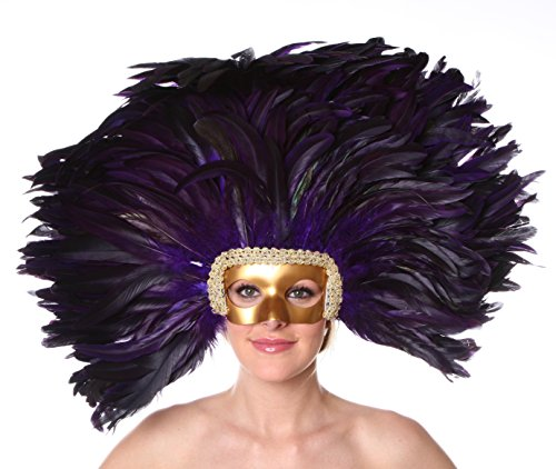 [Zucker Feather Mask/Headdress with Coque Feathers, Regal] (Vegas Showgirl Costumes)