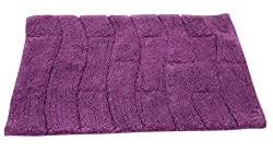 Textile Dcor Castle Hill Bath Mat with Spray Latex Backing, New Tile Design, 17 by 24-Inch, Aubergine
