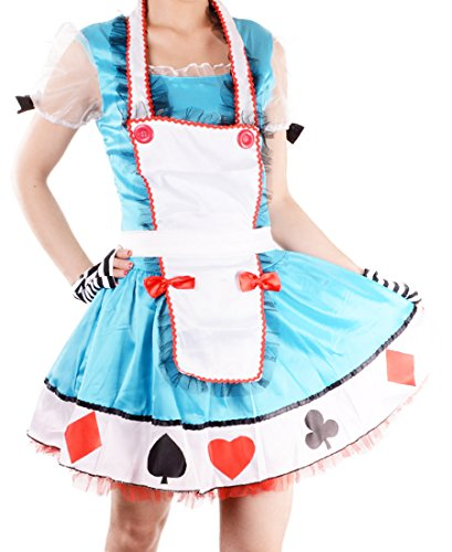 Adult Alice in Wonderland Costume Halloween Party Fantasias Maid Cosplay Dress