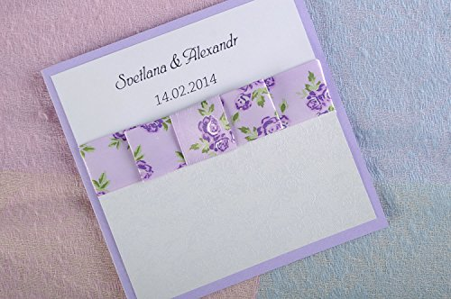 Carte d'invitation au mariage blanche et lilas