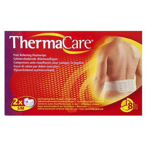 ThermaCare Therapeutic Self Heating Back Wraps for Pain Relief - Small/Medium - 2 Wraps