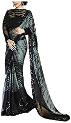 Lizel Fashion Women's Chiffon Saree (BlackRose, Black & Grey)