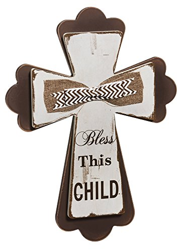 Bless This Child Shabby Chic Wood Wall Cross With Ribbon