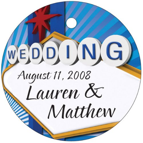 Baby Keepsake: Las Vegas Wedding Sign Circle Shaped Personalized Thank You Tags – Set of 20
