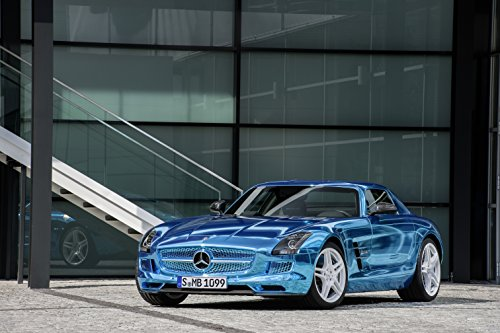 """Mercedes-Benz Sls Amg Electric Drive Concept (2012) Car Art Poster Print On 10 Mil Archival Satin Blue Front Side Static View 11""""X14"""""""