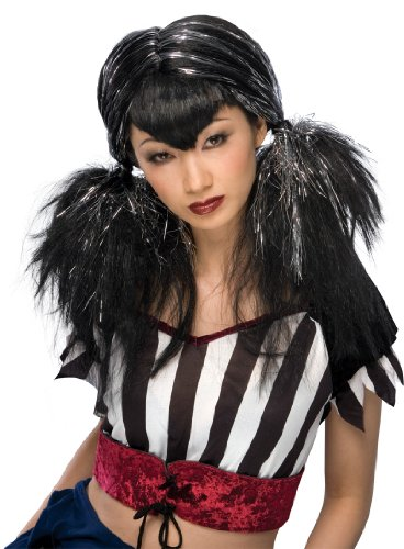 Rubie's Costume Dark Angel Wig, Black/Silver, One Size - 1