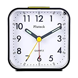 Pluteck Non Ticking Quartz Analog Alarm Clock with Nightlight and Snooze, Ascending Sound Alarm, Simple To Set Clocks, Small Beside Alarm Clock, Battery Powered (Black)