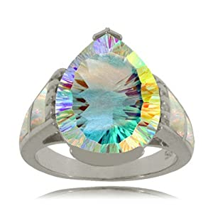 Sterling Silver Sea Mist Topaz Ring W/ Opal Accents