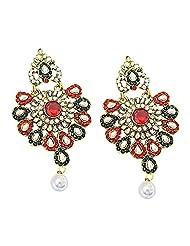 Surat Diamond Floral Shaped Red, Green & White Coloured Stone Chandbali Earrings For Women (PSE46)