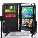Yousave Accessories HTC Desire 610 Case Black PU Leather Wallet Cover With Mini Stylus Pen, Car Charger And Micro USB Cable