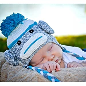 Handmade Baby blue sock monkey Hat in spring color 3-12 months