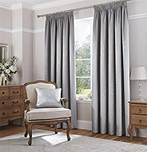 """Metallic Sheen Leaves Silver Grey Woven Lined 90"""" X 90"""" - 229cm X 229cm Pencil Pleat Curtains from Curtains"""