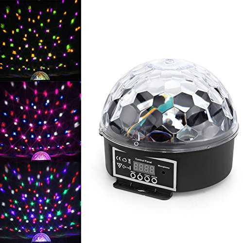 Flexzion LED Stage Light Digital Crystal Rotating Ball Lamp Magic Dot Effect Lighting Changeable RGB Color for Home Party Bar's Club's Disco DJ KTV Show Pub