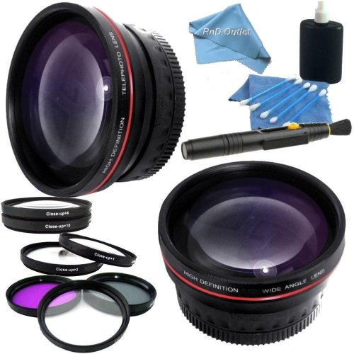 Professional 58Mm Lens Kit For Canon Vixia Hf G10, Hf G20, Hf G30, Xa10, Xa20, Xa25 Camcorders: Includes 0.45X High Definition Wide Angle Lens, 2.2X Telephoto Hd Lens, 3 Piece Multicoated Filter Kit (Uv,Cpl,Fld) 4 Piece Macro Close Up Lenses (Diopters +1+