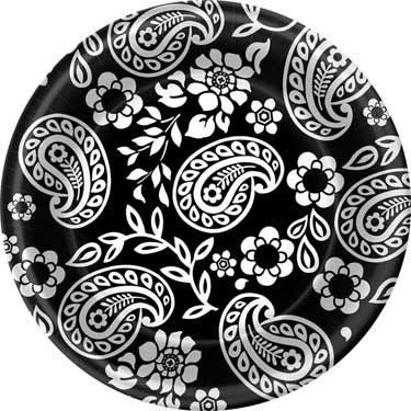 Black and White Paisley Dessert Plates - 1