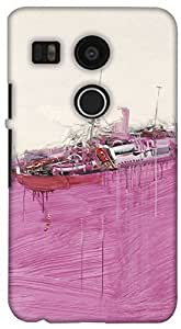 PrintHaat Designer Back Case Cover for LG Nexus 5X :: LG Google Nexus 5X New (Sailing ship in ocean painting design in pink)