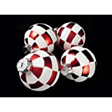 Pack of 4 Peppermint Twist Shatterproof White   Red Check Christmas Ornaments