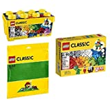 Bundle: Lego Classic Medium Creative Brick Box & Lego Classic Green Baseplate Supplement & Lego Classic Creative...