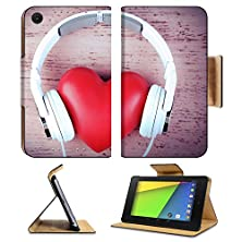buy Asus Google Nexus 7 2Nd Generation Fhd 2013 Tablet Flip Case Headphones And Heart On Color Wooden Background 33305910 By Msd Customized Premium Deluxe Pu Leather Generation Accessories Hd Wifi 16Gb 32Gb Luxury Protector Case