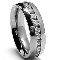 6MM High Polish Ladies Eternity Titanium Ring Wedding Band with CZ sizes 6 to 8