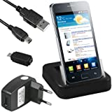 mumbi DUAL USB Dock Samsung Galaxy S2 / S2 Plus Dockingstation Tischladestation mit extra Akkuladefach + USB Datenkabel + Netzteil + Adapter