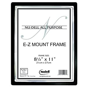 "8.5"" x 11"" EZ-Mount II Document Frame Plastic Face, Black w/ Silver Trim"