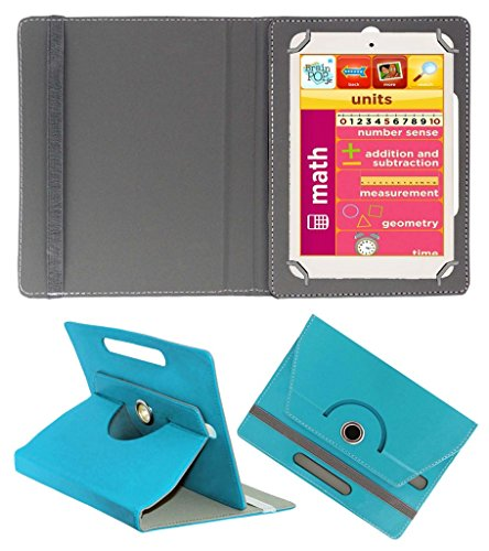 Acm Rotating 360° Leather Flip Case For Eddy Kids Learning Tab Tablet Cover Stand Greenish Blue  available at amazon for Rs.149