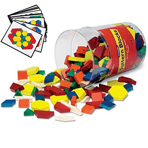 Learning Resources Wooden Pattern Blocks (250) with Pattern Block Design Cards