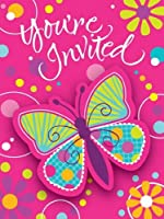 Creative Converting Butterfly Sparkle Party Invitations, 8-Count from Creative Converting