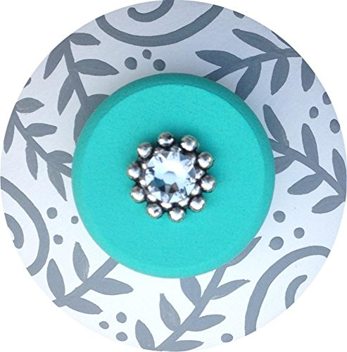 Hand Painted Jeweled Turquoise and Grey Decorative Dresser Furnitue Art Home Decor Wood Drawer Knob Pull (Dresser Knobs Turquoise compare prices)