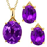 9.62 Ct Oval Purple Amethyst 18K Yellow Gold Pendant Earrings Set