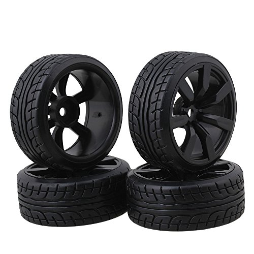 BQLZR Tires With 7-spoke Wheel Rims For RC1:10 Nitro Car Flat Racing Car Pack Of 4 (Nitro Tires compare prices)