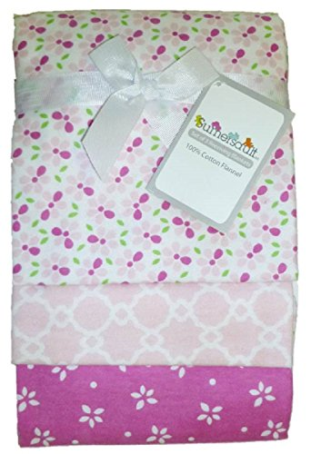 "3-pack Cotton Flannel 28"" x 30"" Receiving Blankets (Pink)"