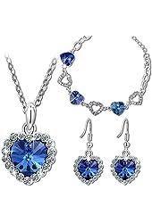 "Titanic Classic Romance Stories ""Heart of the Ocean"" Blue Sapphire Genuine SWAROVSKI ELEMENTS Crystals Heart Shape Pendant Necklace Earring Set for Women"