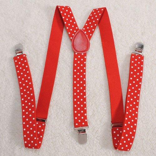 "Unisex Adult Child Elastic Clip-On Brace Belt""Red And White Dots""Suspender Y Back Neon Adjustable front-570815"