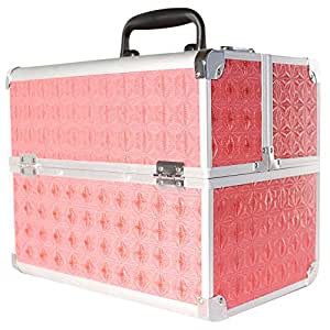 Arebos Beauty Case Vanity Case Make Up Nail Art Case / Box 32 x 21,5 x 26 cm (Pink)