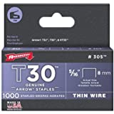 "Arrow Fastener 305 T30 5/16"" Flat Crown Thin Wire Staples 1000 per Package"