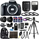 Canon EOS Rebel T5I SLR Camera with EF-S 18-55mm f/3.5-5.6 IS II SLR Lens - Mark II + 58mm 2X Professional Telephoto Lens + 58mm High Definition 0.45x Wide Angle Lens + Transcend 16GB Class 10 Memory Card +Transcend 8GB Class 10 Memory Card with Much More in this 30 Piece Accessory Bundle!