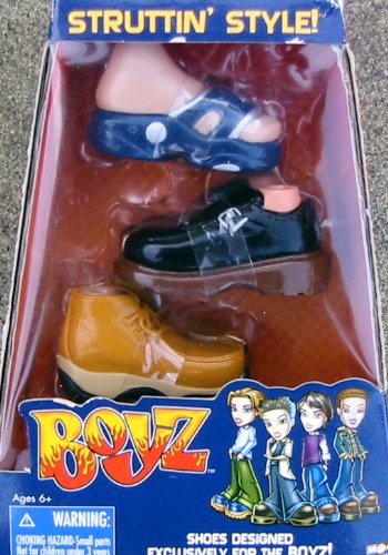 Bratz Boyz Struttin' Style Shoe Set-Brown Hiking, Black Dress Shoes, Blue Modern Sandal