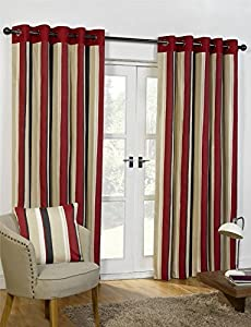 "Striped Cotton Mix Ring Top Lined Red Black 90"" X 54"" Thick Curtains *wotsdap* by Curtains"