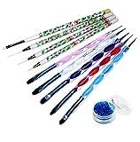 5 x 2 Ways Gel Nail Brush And Dotting Tools / Nail Art Striping & Sculpture Brush Set
