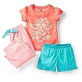Carter's Girls 3 Piece Love Birds Print Poly Pajama Set with Short Sleeve Top, Shorts, and Pants